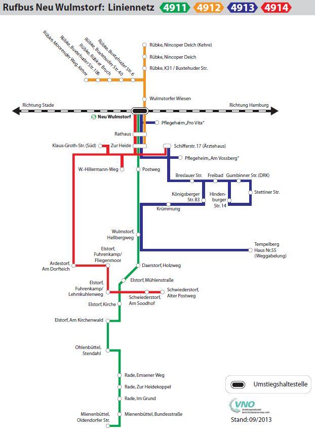 Karte mit dem Streckennetz der Buslinie des Rufbus Neu Wulmstorf