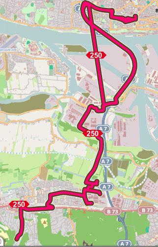 Karte mit dem Streckennetz der Buslinie 250