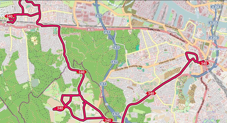 Karte mit dem Streckennetz der Buslinie 340