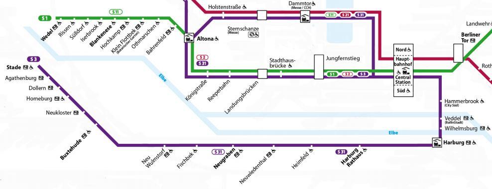 Streckennetz der S-Bahnlinien S3 und S31