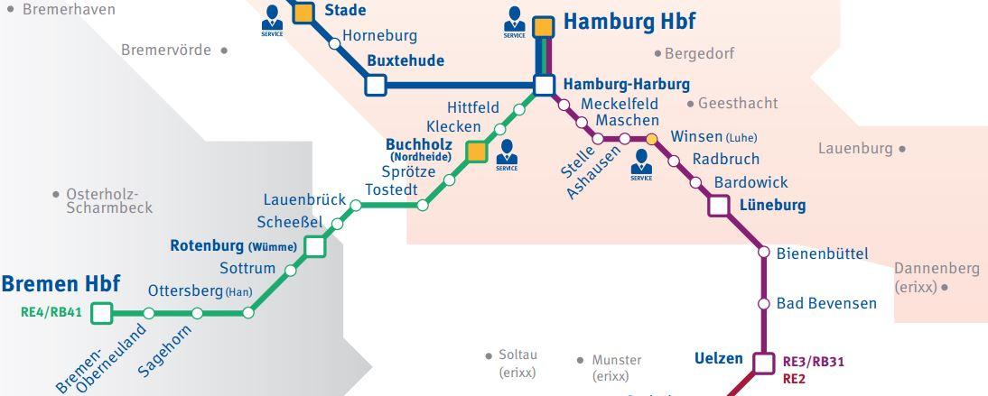 Karte mit dem Streckennetz der Bahnlinie des metronoms