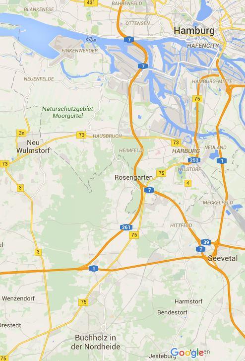 Kartenausschnitt der südlichen Metropolregion Hamburgs mit der Region Rosengarten