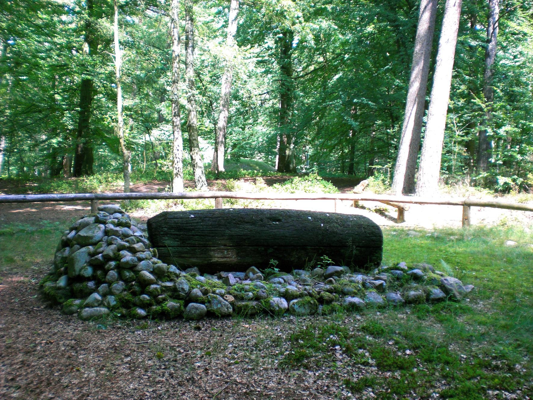 Rekonstruierter Baumsarg aus einem bronzezeitlichen Grabhügel