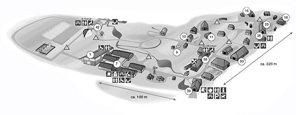 Lageplan mit den einzelnen Gebäuden und Nummerierungen für weitere Informationen