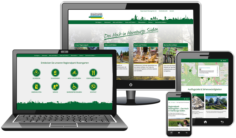 Abbildung der Internetseite www.regionalpark-rosengarten.de auf unterschiedlichen Geräten