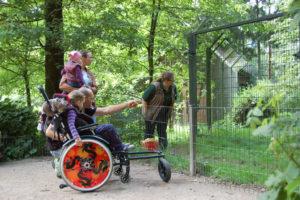 Eine Frau mit Kind auf dem Arm und eine Mann und ein Kind im Rollstuhl schauen in ein Gehäge nach Tieren