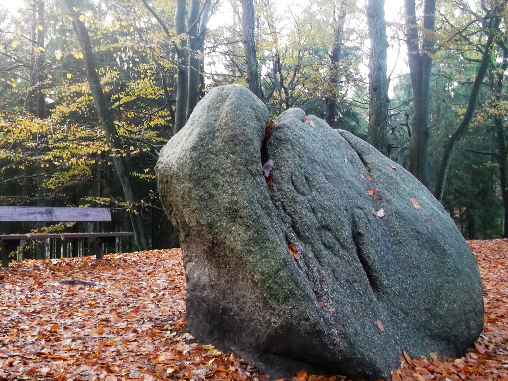 Großer eiszeitlicher Granitfindling auf einer waldreichen Anhöhe im Regionalpark Rosengarten.