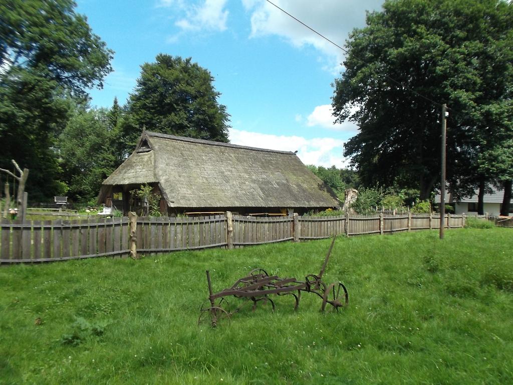 Sattgrüne Wiese mit altem landwirtschaftlichem Gerät vor einem reetgedecktenn Schaftstall