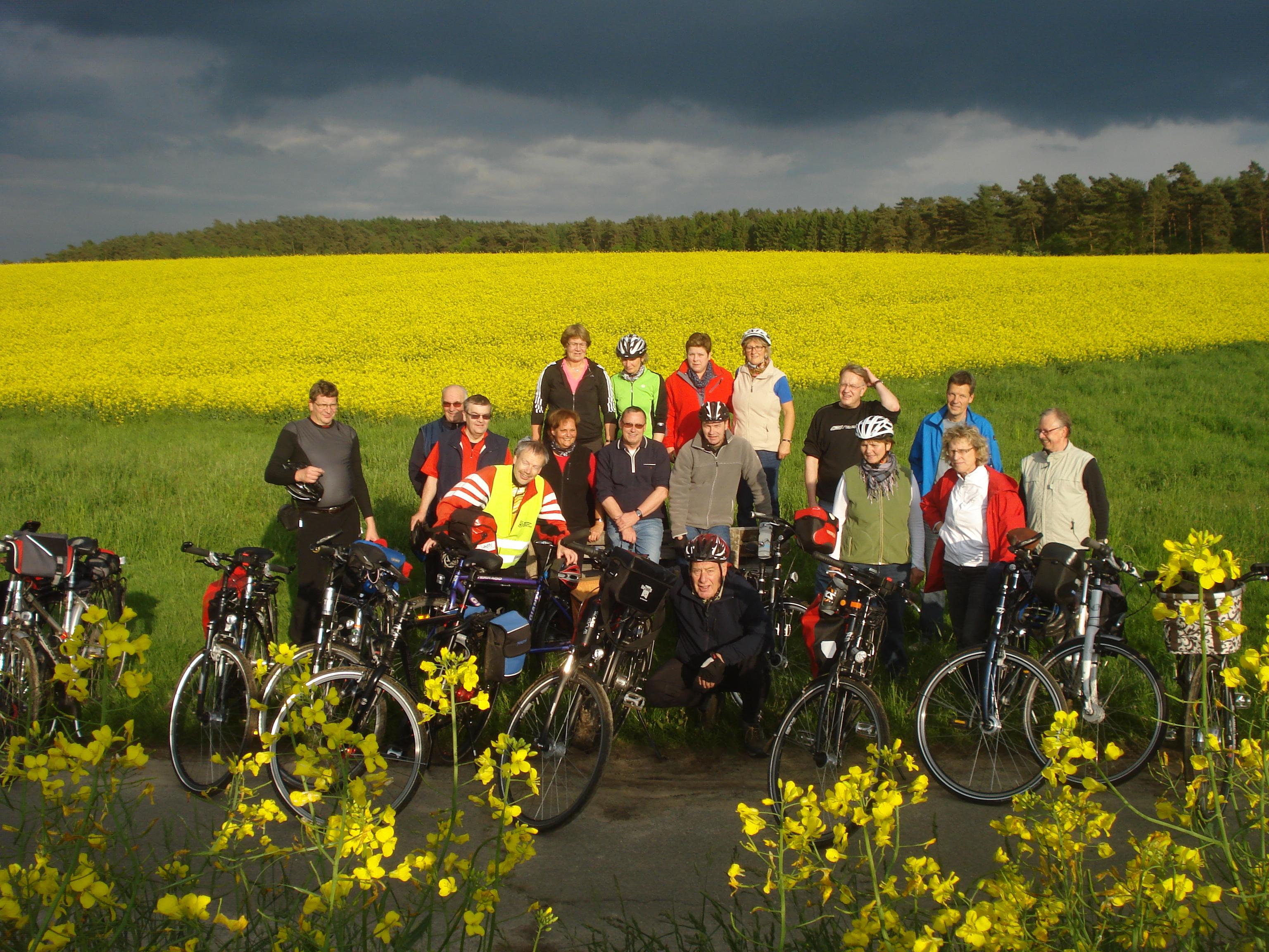 Fahrradgruppe vor einem Rapsfeld