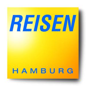 Gelbes quadratisches Logo mit der Aufschrift Reisen Hamburg