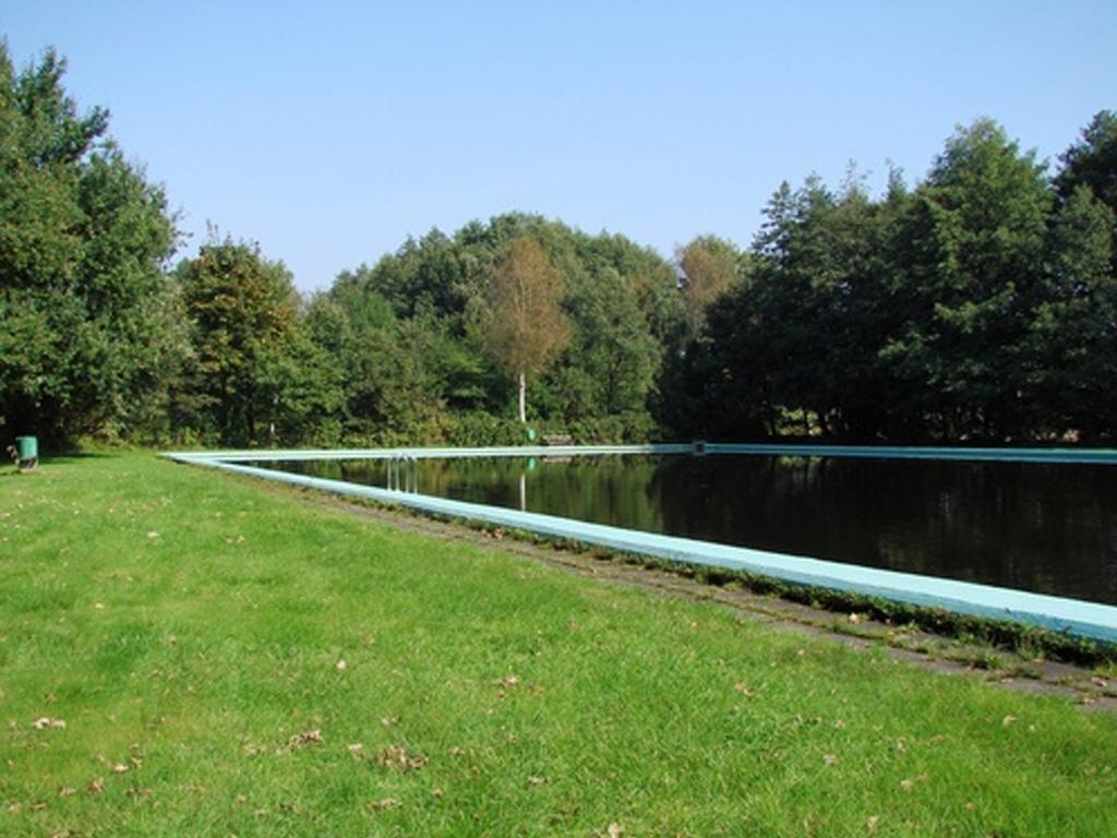 Badeteich mit blauem Beckenrand und grüner Wiese