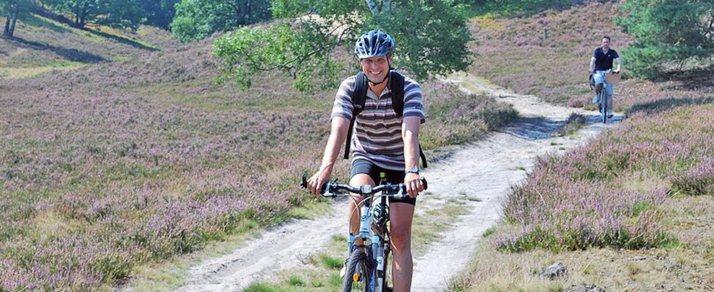 2 Radfahrer auf einem breiten Weg durch die Heidefläche