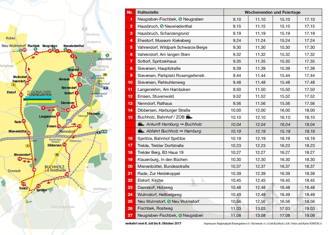 Abbildung des Streckennetzes in einer Karte und der Fahrplan des Regionalpark Shuttles