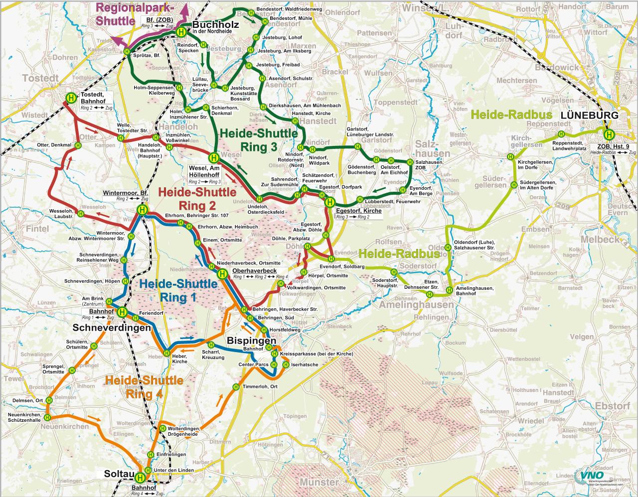 Karte mit dem Streckennetz der Buslinie des Heide Shuttles
